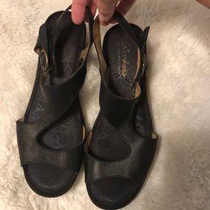 Sketcher Black Wedge Sandals Memory Foam